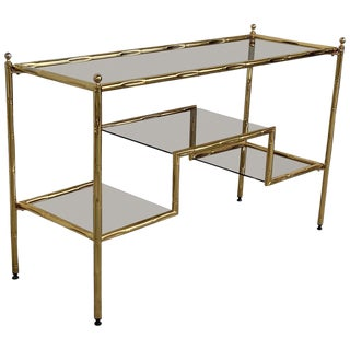 Mid-Century Modern Italian Faux Bamboo Gilt Metal Console With Smoked Glass For Sale