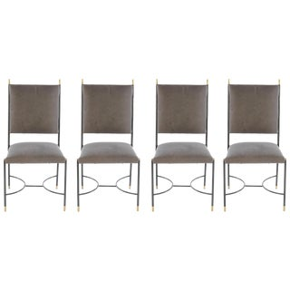 Italian Iron and Bronze Chairs With Stretcher Base - Set of 4 For Sale