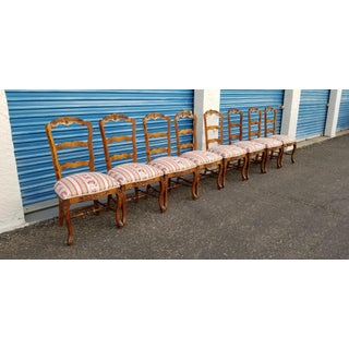 Vintage Mid Century French Country Carved Oak Dining Chairs- Set of 8 Preview
