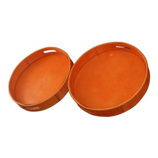 20th Century Italian Leather Orange Circular Tray With Handles For Sale