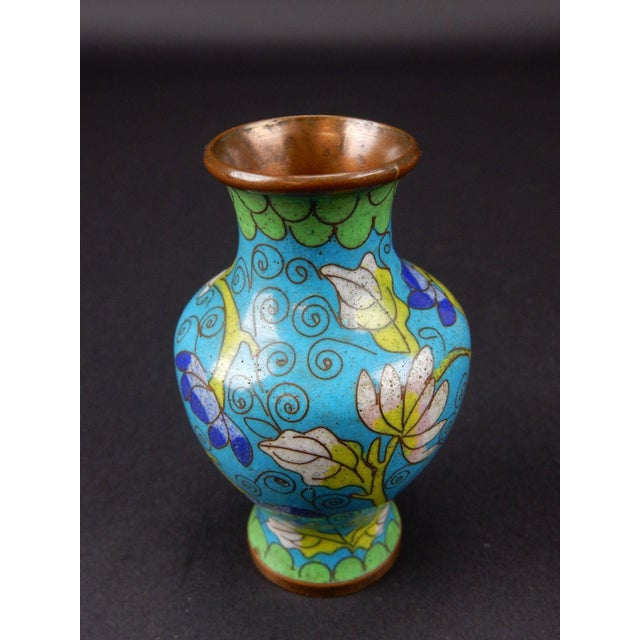 Blue Antique Chinese Cloisonne Temple Vase For Sale - Image 8 of 11