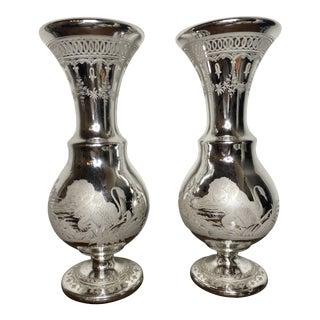 Antique English Mercury Glass Vases - a Pair For Sale