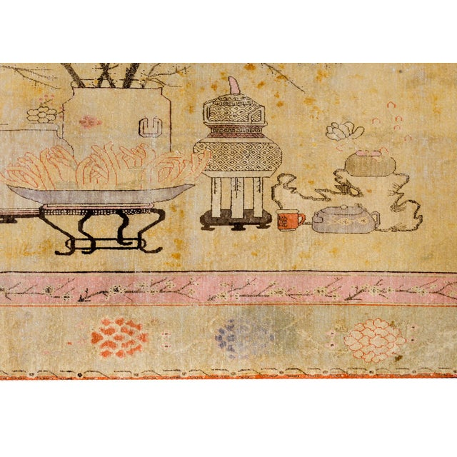 Textile Early 20th Century Pictorial Khotan Rug For Sale - Image 7 of 11