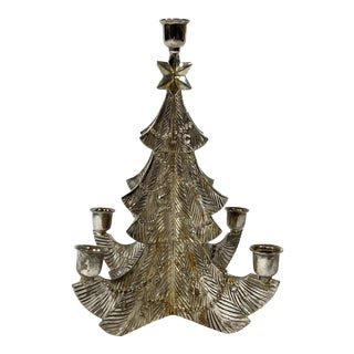 Silverplate Christmas Tree Candle Holder For Sale