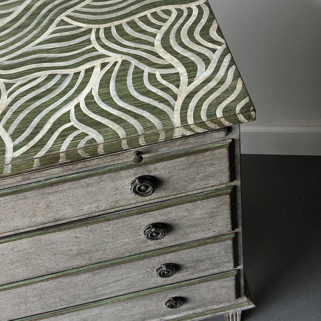 Pair of Catharine Warren Painted Swedish Chests For Sale - Image 4 of 9