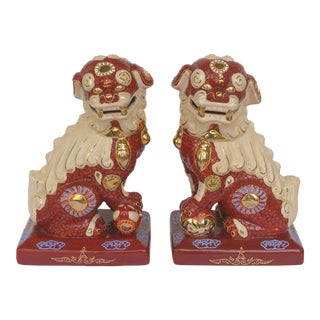 Pair of Large Chinese Glazed Ceramic Foo Dogs