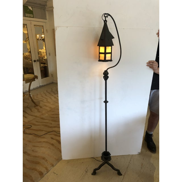 Arts & Crafts Mission Style Floor Lamp With Stained Glass For Sale - Image 11 of 11