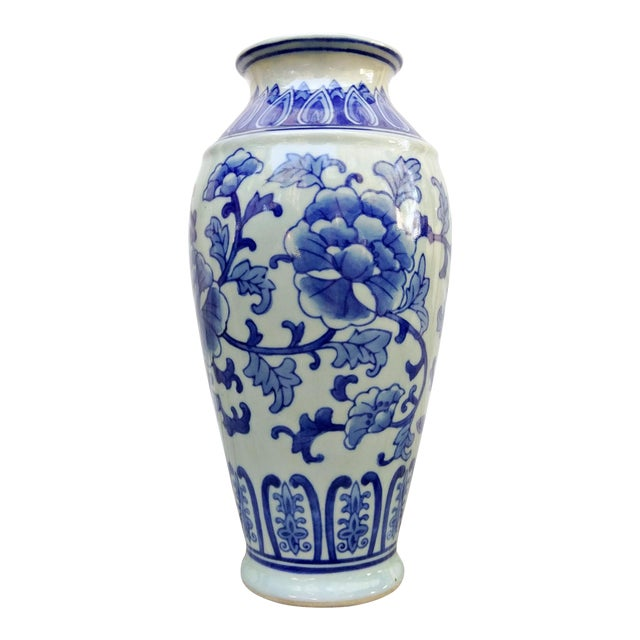 20th Century Asian Blue and White Floral Ceramic Vase For Sale