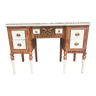 1950s Boho Chic Push Pin Glass Top Writing Desk