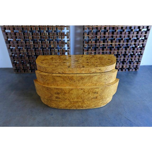 A sculptural burled wood chest / dresser, circa 1980.