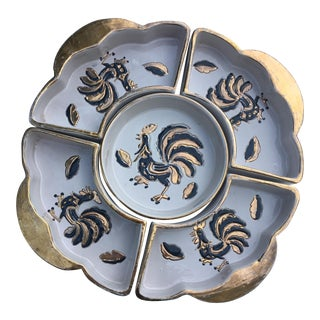 Italian Gold & Navy Enamel Relish Dishes - S/5 For Sale