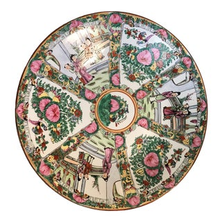 Rose Medallion Hand Painted Bowl Platter For Sale