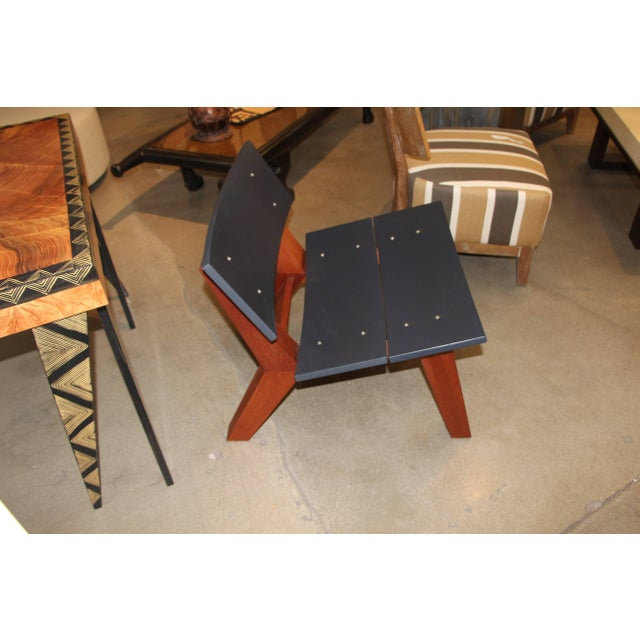 Early 21st Century Rob Edley Welborn Prototype Lounge Chair in Wood and Blue Paint For Sale - Image 5 of 10
