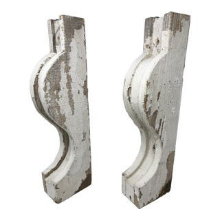 Pair of Antique White Wood Corbels For Sale