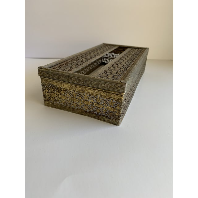 Midcentury Brass Decor Tissue Box For Sale - Image 4 of 12