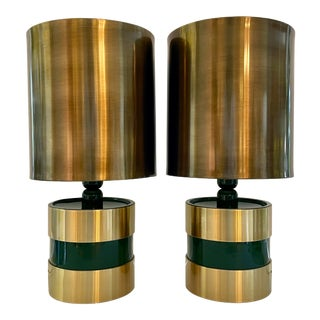 Italian Green & Gold Striped Table Lamps From 70's For Sale