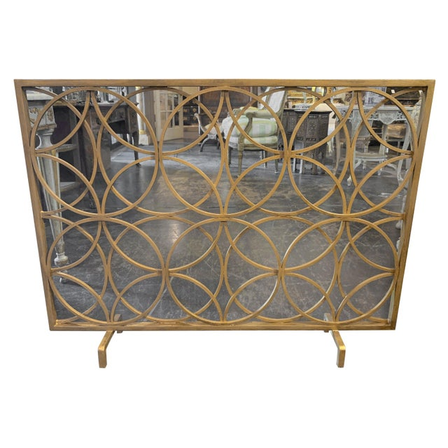 Metal Modern Fire Place Screen in a Gilt Finish For Sale - Image 7 of 7