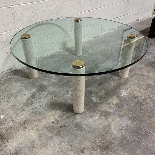 Mid-Century Modern 1970s Pace Collection Marble & Glass Coffee Table For Sale - Image 3 of 10