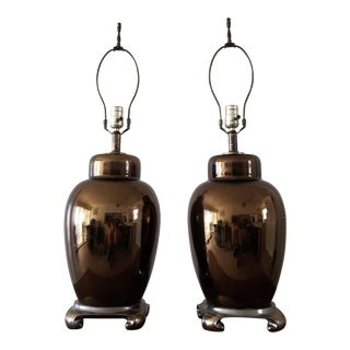 1960s Mid Century Metallic Glass Ginger Jar Lamps - a Pair For Sale