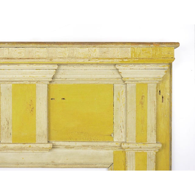 Neoclassical Neoclassical Federal Antique Fireplace Surround Mantel in Early Yellow & White Paint For Sale - Image 3 of 13