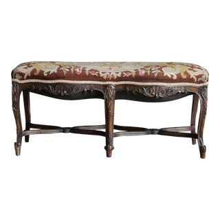 Antique French Carved Frame Tapestry Upholstered Bench For Sale