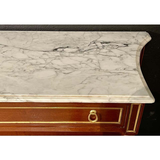 Pair of Louis XVI Style Marble Top Consoles / Sideboards in the Jansen Manner For Sale - Image 4 of 13