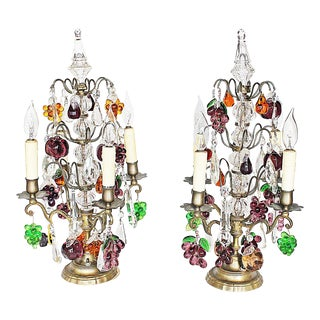 French Bronze Crystal Girandole Table Lamps - a Pair For Sale