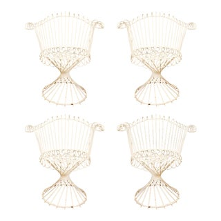 Set of 4 French Iron Chairs by Mathieu Mategot For Sale