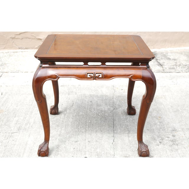 """Chinoiserie Vintage Drexel Heritage """"Ming Treasure"""" Square Clawfoot Side Table For Sale - Image 3 of 10"""