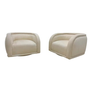Vladimir Kagan Style Directional Swivel Club Chairs For Sale