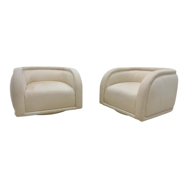 Vladimir Kagan Style Directional Swivel Club Chairs - a Pair For Sale