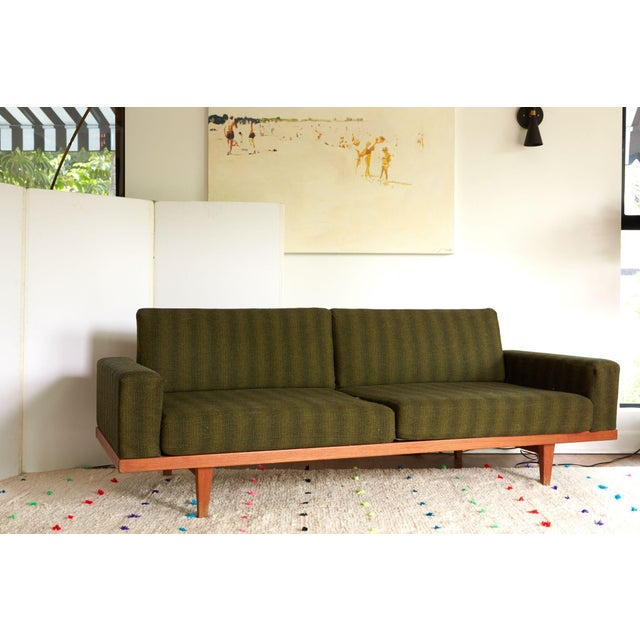 Vintage Danish Modern Green Striped Wool Couch - Image 2 of 9