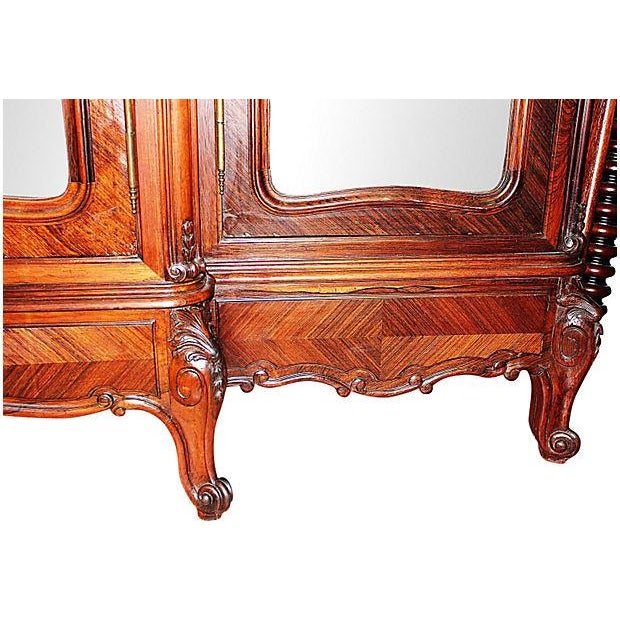 Antique French Rosewood 3-Door Armoire - Image 4 of 7
