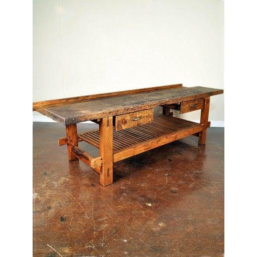 1950s French Reclaimed Wood Workers Bench Table For Sale - Image 4 of 5