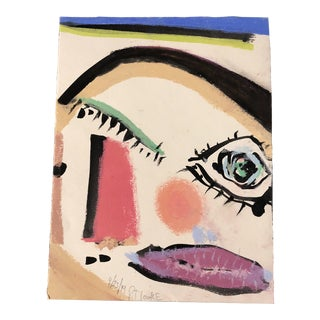 Original Contemporary Robert Cooke Abstract Face Painting Heightened With Pastel For Sale