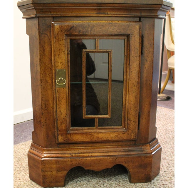 Two-Piece Lighted Cherry Curio Corner Cabinet - Image 8 of 11