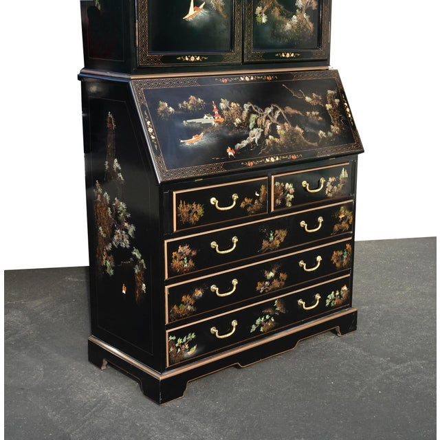 Asian Vintage Chinese Asian Black Lacquer Chinoiserie Secretary Desk Hutch Hand Paint For Sale - Image 3 of 13
