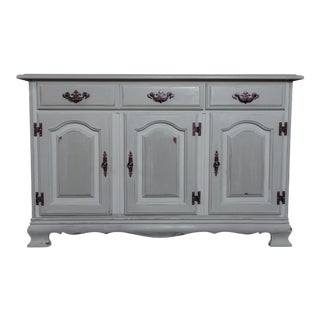 Shabby Chic Traditional Grey Storage Cabinet, Designer Fabric-Lined For Sale