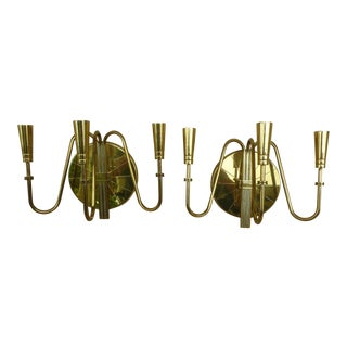 Tommi Parzinger Mid-Century Modern Brass Wall Sconces - a Pair For Sale