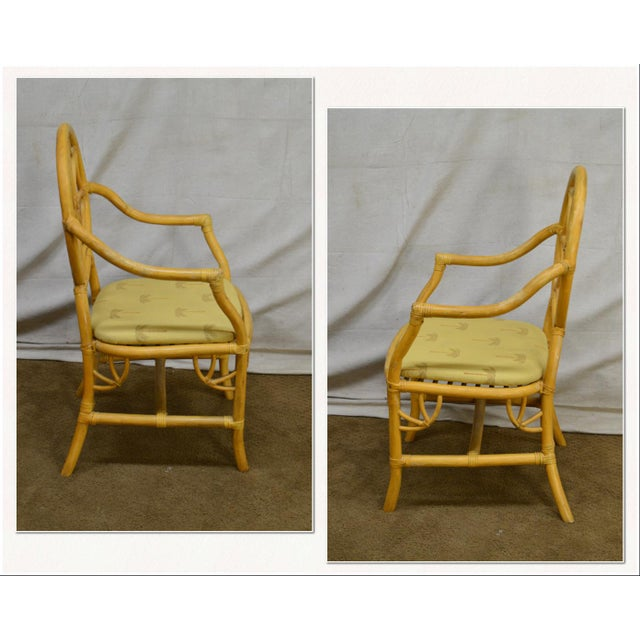 *STORE ITEM #: 18118-ax McGuire Style Set of 8 Vintage Rattan Bamboo Spider Back Dining Chairs AGE / ORIGIN: Approx. 30...