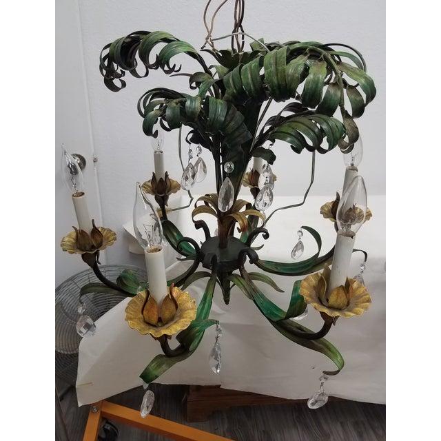 Hollywood Regency Vintage Hanging Colorful Leaf/Frond Lights - Flush Mount Ceiling - a Pair For Sale - Image 3 of 13