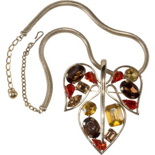 Napier 1950s Vintage Rhinestone Abstract Modernist Leaf Necklace Brooch Pin Fall For Sale