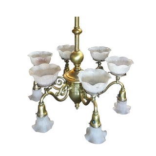 Late Victorian Cast Brass Transitional Six-Arm Gas and Electric Chandelier Preview