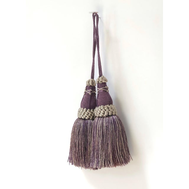 Key Tassels in Amethyst and Gray With Ruche Trim - a Pair For Sale In New York - Image 6 of 12