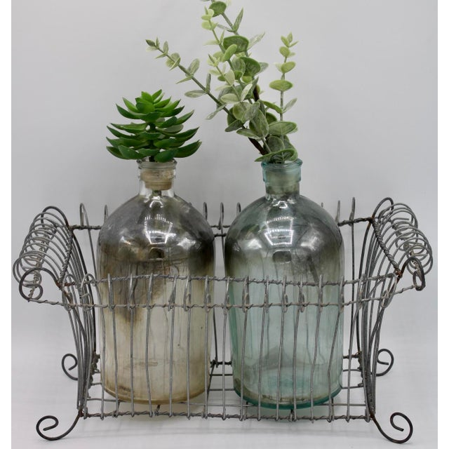 Mid 20th Century Antique French Jardiniere Footed Wire Basket For Sale - Image 5 of 7