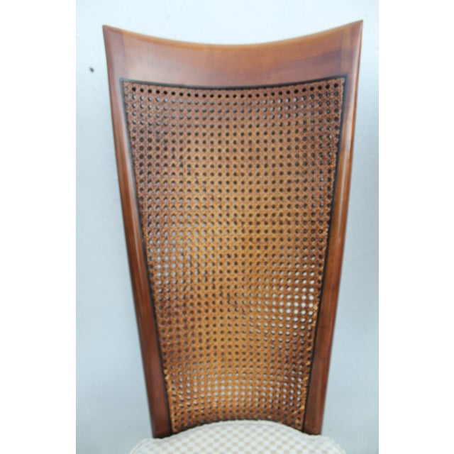 Robsjohn Gibbins Style Teak Cane Tall Back Dining Chairs Set of 6 For Sale In Miami - Image 6 of 11