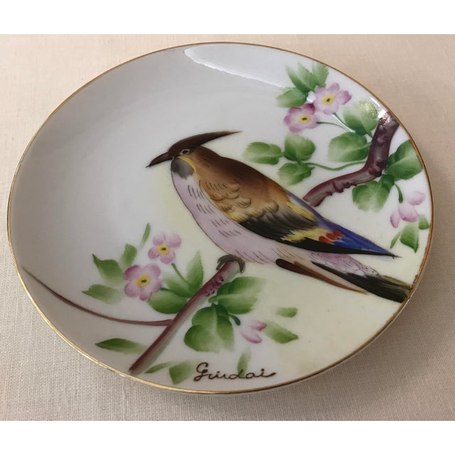 Beautiful Japanese hand painted bird plate signed Guidai.