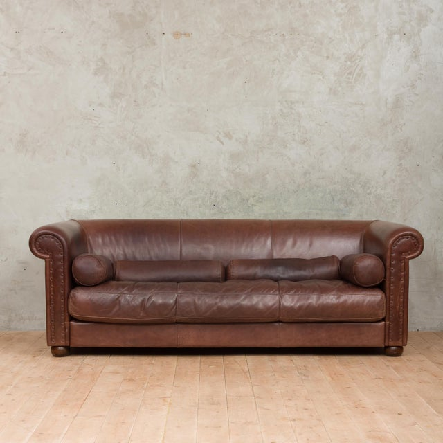 Very large and luxurious Leather sofa, from renowned manufacturer Baxter. It is made of full grains aniline buffalo...