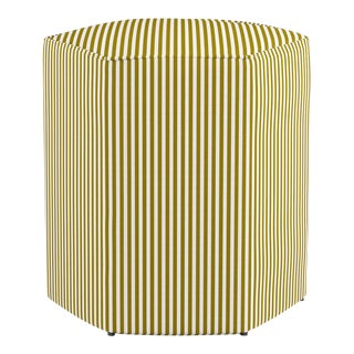 Hexagonal Ottoman in Gold Ticking Stripe For Sale
