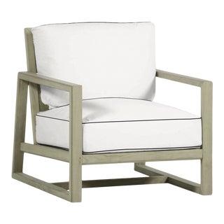Summer Classics Avondale Teak Lounge in Linen Snow with Canvas Black Welt For Sale